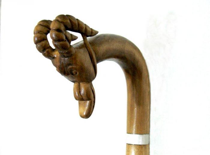 HAND CARVED Wooden Cane - Walking Stick - Teak