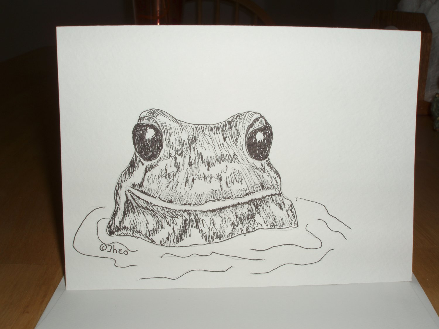 Handmade Painted blank card frog pen and ink
