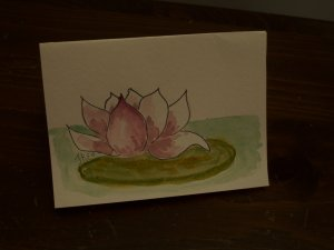 Handpainted Blank Card with waterlily lotus