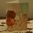 Hand painted blank card vase Mediterranean scene watercolor