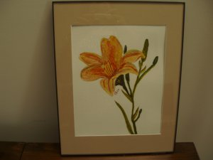 Daylily watercolor framed with mat
