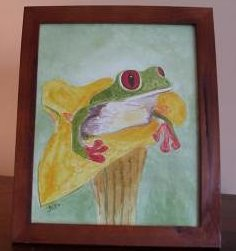 Frog in Flower Watercolor Framed