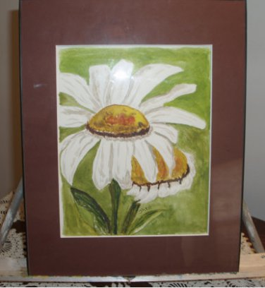 Daisy Watercolor Original with mat