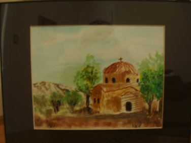 Watercolor Greek Orthodox Church in Cyprus