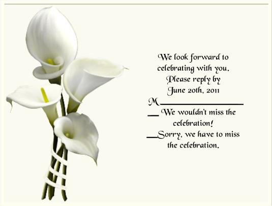 Calla Lilly 2 rsvp cards