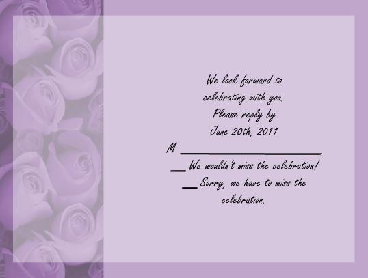 Purple Roses rsvp cards