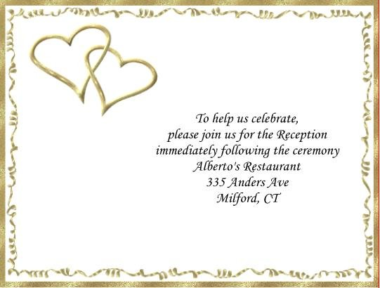 Gold Hearts reception cards