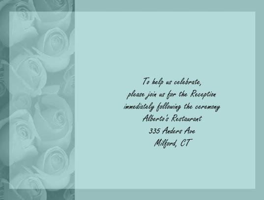 Teal Roses reception cards
