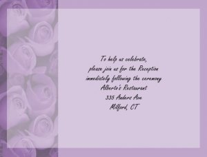 Purple Roses reception cards