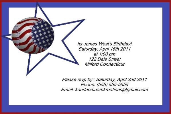 Baseball kids birthday invitations