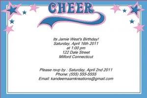 Cheerleading kids birthday invitations