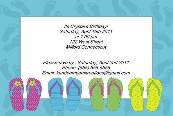 Flip Flop kids birthday invitations