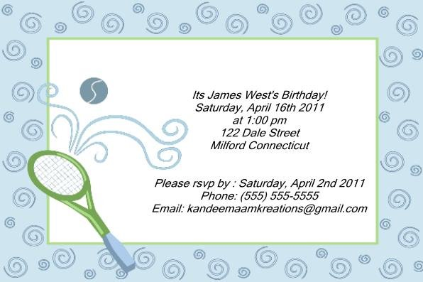 Tennis kids birthday invitations