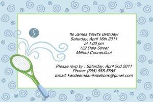 Tennis kids birthday invitations