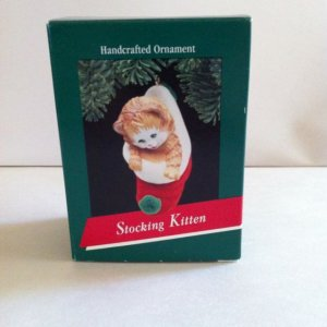STOCKING KITTEN~1989~Hallmark Christmas Ornament~Kitty Cat~Sock