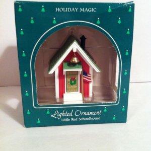 "1985 Hallmark Holiday Magic ""Little Red Schoolhouse"" Lighted Ornament~VGC"