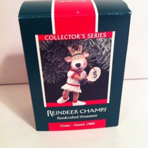 1989 HALLMARK Ornament REINDEER CHAMPS VIXEN Tennis Player QX4562 NEW Mint MIB