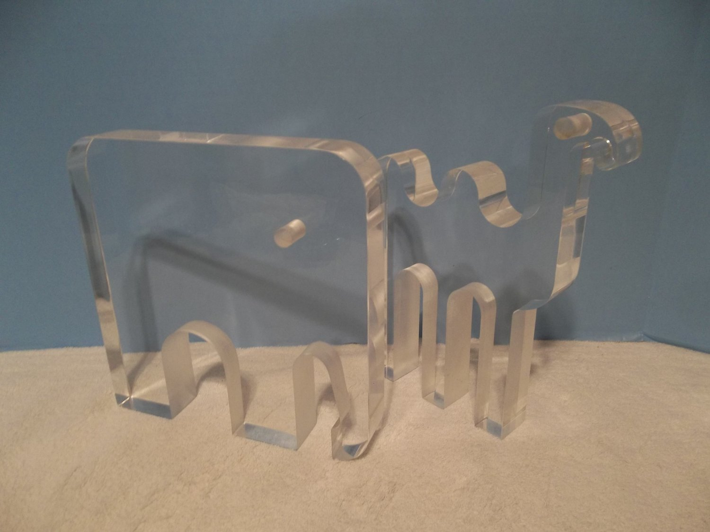 2 MODERN TEAM GUZZINI Lucite Acrylic CAMEL ELEPHANT Sculptures Figurines 663 714