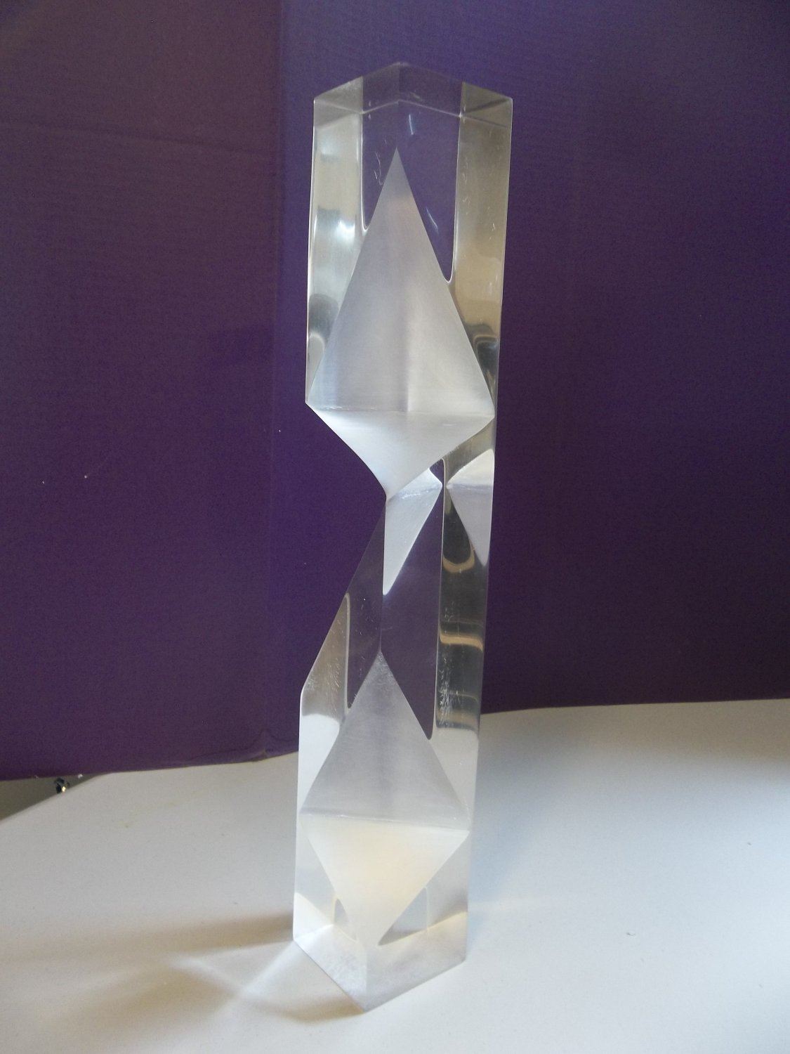 VTG Faceted Modern Lucite Acrylic Prismatic Sculpture Tower Alessio Tasca ? 2186