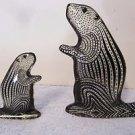 2 Palatnik Lucite Acrylic Beaver Ground Hog Otter Figurines Sculptures 231942