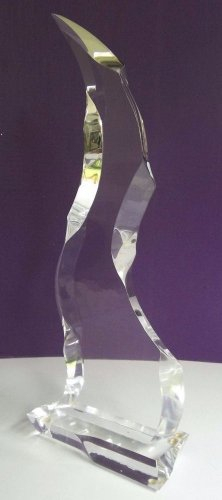 Vintage Tall Modern Prismatic Signed Lucite Acrylic Abstract Sculpture 2261