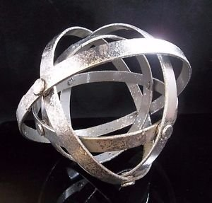 Modern Industrial Silver Orb Sphere Ball Accent Decor Decorative Sculpture 555
