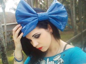 Large Royal Blue Pleather Huge Massive Fashionista Scene Hair Bow w/snap clip
