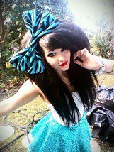 "Large ""Aqua Black Zebra Striped"" Huge Massive Fashion Scene Hair Bow w/snapclip"