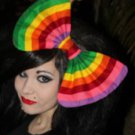 "Large Multi-colored ""Rainbow Striped"" Massive Scene Fashionista Huge Hair Bow"