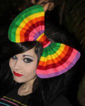 "Large Multi-colored ""Rainbow Striped"" Massive Scene Fashionista Huge Hair Bow"