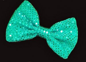 Large Shiny Turquoise Confetti Dot Sequins Fashionista Huge Hair Bow w/snap clip