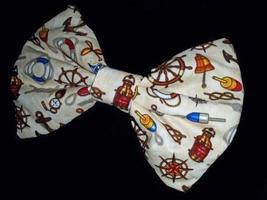 """Large Novelty Cotton Fabric-""""Seaport Icons"""" Huge Massive Hair Bow w/snapclip"""