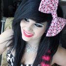 """Medium Red/Pink Hearts on White """"Be My Valentine"""" Fashion Hair Bow w/snap clip"""