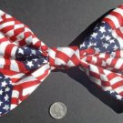 "Medium ""US American Flag"" Stars/Stripes New Patriotic Fashion Scene Hair Bow"