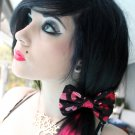 "Mini ""Be My Valentine"" Packed Hearts Black Print Scene Hair Bow w/snap clip"
