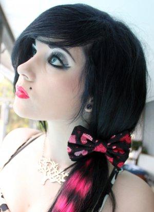 "Mini ""Be My Valentine"" Packed Hearts Black Print Scene Hair Bow w/snap clip"