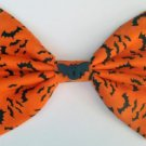 "Medium ""Halloween Treats"" Black Bats on Orange Fashion Hair Bow with snap clip"