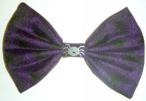 "Medium ""Halloween Treats"" Black Spider Webs on Purple Fashion Hair Bow with snap clip"