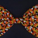 "Medium Moda Happy H""owl""o-ween Candy Corn on Black Hair Bow with snap clip"
