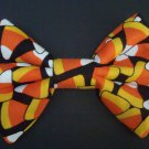 "Mini Moda Happy H""owl""o-ween Candy Corn on Black Hair Bow with snap clip"