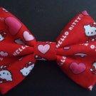 "Mini Valentine's Day Bow""Hello Kitty"" Hearts on Red Fashion Hair Bow w/snapclip"