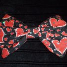 "Mini Valentine's Day Bow ""Sparkle"" Red Hearts Black Fashion Hair Bow w/snapclip"