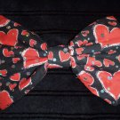"Valentine's Day SALE 5""x7"" Sparkle Red Hearts Black Fashion Hair Bow w/snapclip"