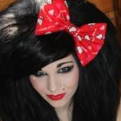 """Valentine's Day SALE 5""""x7"""" Hello Kitty Hearts on Red Fashion Hair Bow w/snapclip"""