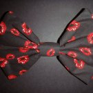 "Valentine's Day SALE 5""x7"" Red Lips on Black Scene Fashion Hair Bow w/snapclip"