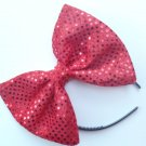 "Valentine's Day SALE 5""x7"" Red Sequin Confetti Dot Fashion Hair Bow w/snapclip"