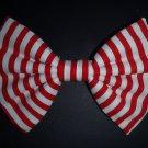"Valentine's Day SALE 5""x7"" ""Red & White Stripes"" Fashion Hair Bow w/snapclip"