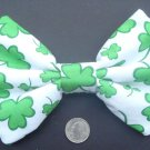 "St. Patrick's Day Sale 5""x7"" Bow ""Green Shamrock Clovers"" White Hair w/snapclip"