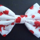 "Mini Valentine's Day Bow ""Red Cupids on White"" Fashion Hair Bow w/snapclip"