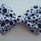 "Mini Valentine's Day Bow ""Black white Polka Dot"" Cosplay Hair Bow w/snapclip"